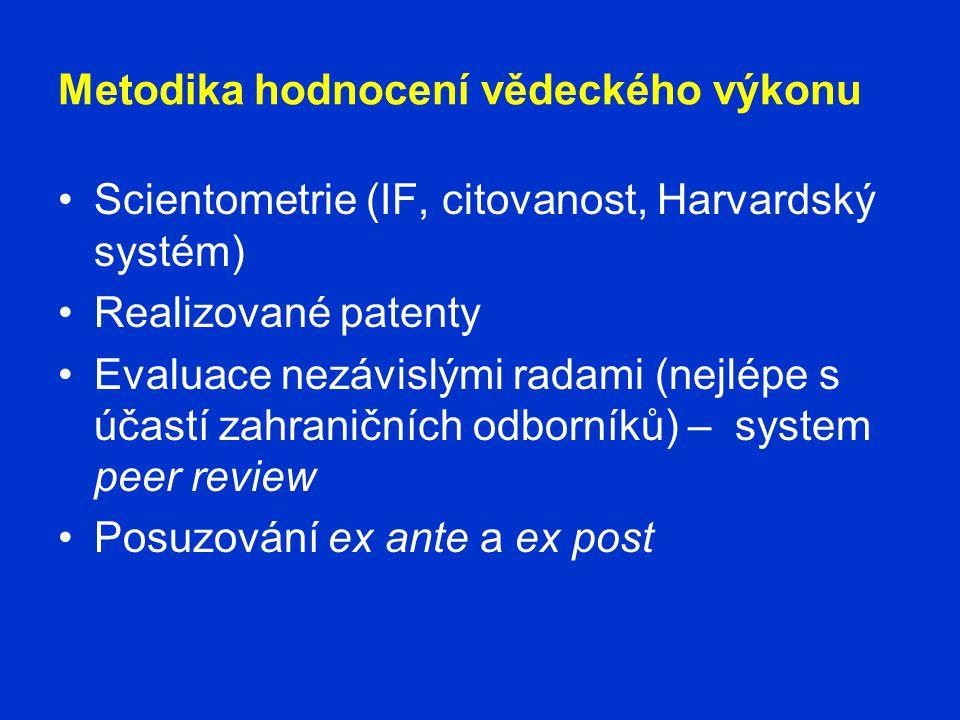 Metodika hodnocení vědeckého výkonu •Scientometrie (IF, citovanost, Harvardský systém) •Realizované patenty •Evaluace nezávislými radami (nejlépe s účastí zahraničních odborníků) – system peer review •Posuzování ex ante a ex post