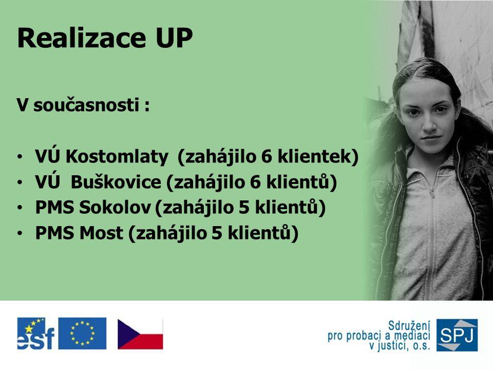 Realizace UP V současnosti : • VÚ Kostomlaty (zahájilo 6 klientek) • VÚ Buškovice (zahájilo 6 klientů) • PMS Sokolov (zahájilo 5 klientů) • PMS Most (zahájilo 5 klientů)