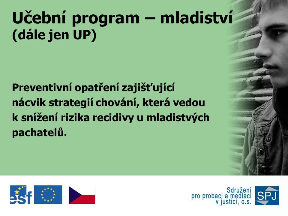 Učební program – mladiství (dále jen UP) Preventivní opatření zajišťující nácvik strategií chování, která vedou k snížení rizika recidivy u mladistvých pachatelů.
