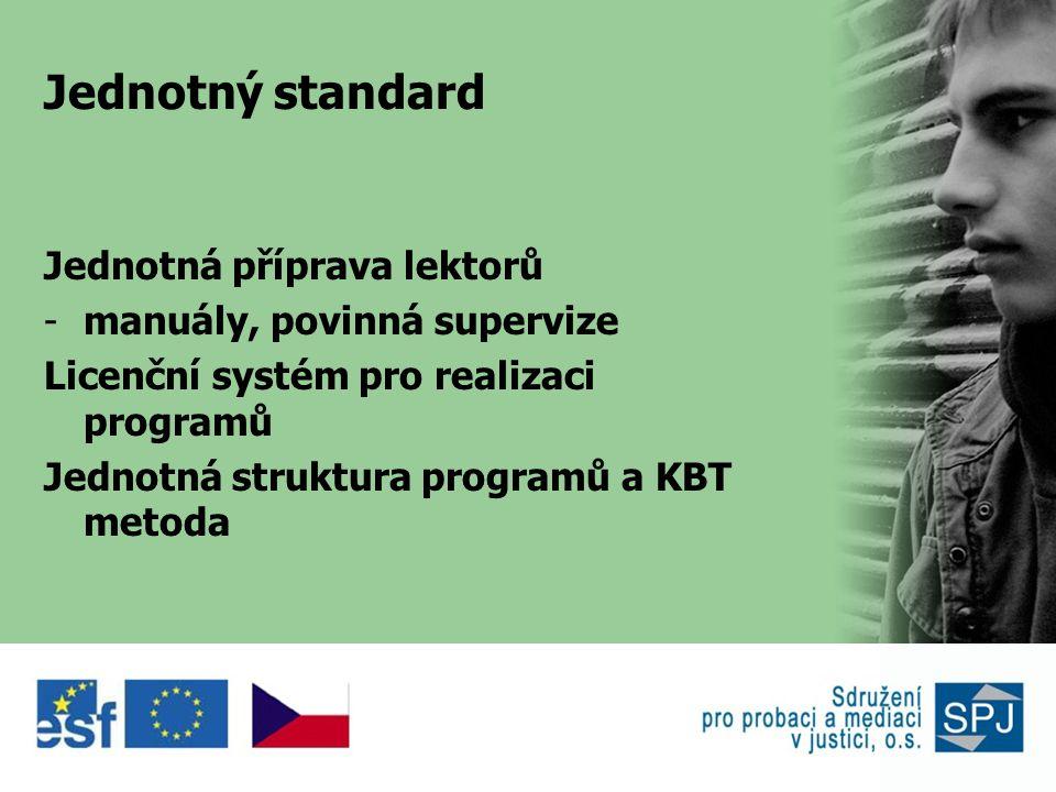 Jednotný standard Jednotná příprava lektorů -manuály, povinná supervize Licenční systém pro realizaci programů Jednotná struktura programů a KBT metoda