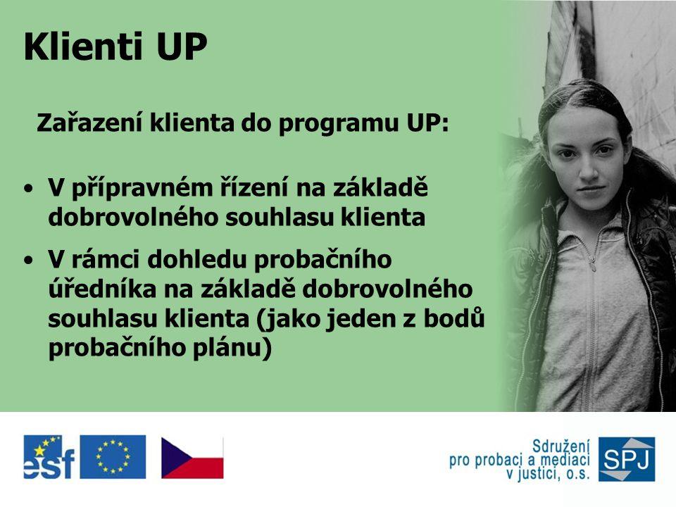 Klienti UP Zařazení klienta do programu UP: •V přípravném řízení na základě dobrovolného souhlasu klienta •V rámci dohledu probačního úředníka na základě dobrovolného souhlasu klienta (jako jeden z bodů probačního plánu)