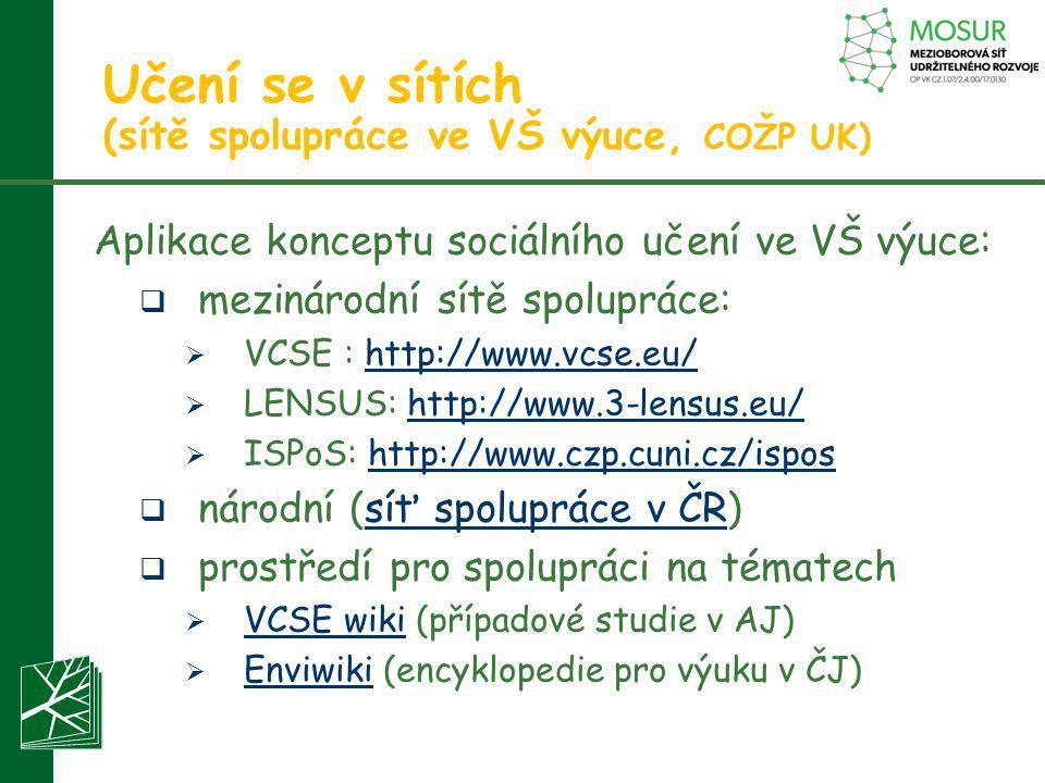 Učení se v sítích (sítě spolupráce ve VŠ výuce, COŽP UK) Aplikace konceptu sociálního učení ve VŠ výuce:  mezinárodní sítě spolupráce:  VCSE : http: