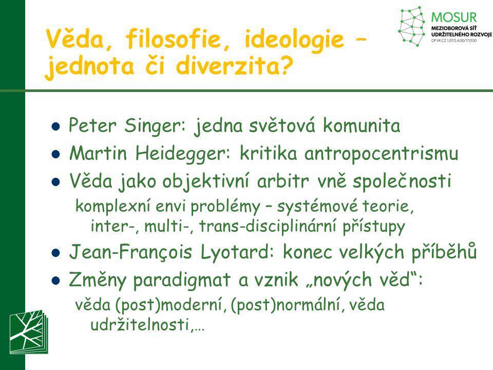 Věda, filosofie, ideologie – jednota či diverzita?  Peter Singer: jedna světová komunita  Martin Heidegger: kritika antropocentrismu  Věda jako obj