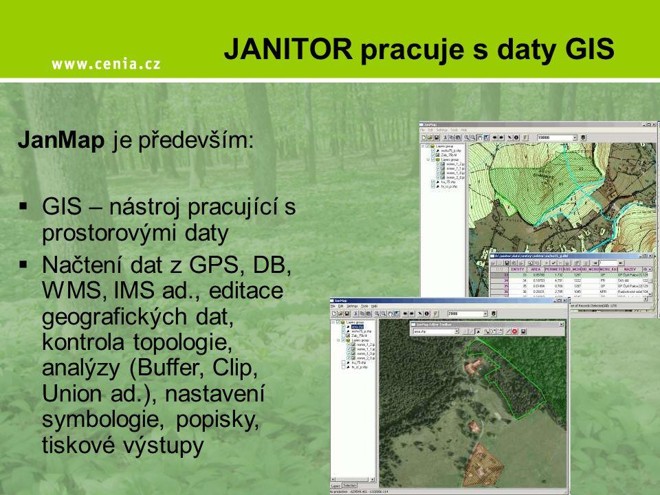 JanMap je především:  GIS – nástroj pracující s prostorovými daty  Načtení dat z GPS, DB, WMS, IMS ad., editace geografických dat, kontrola topologi