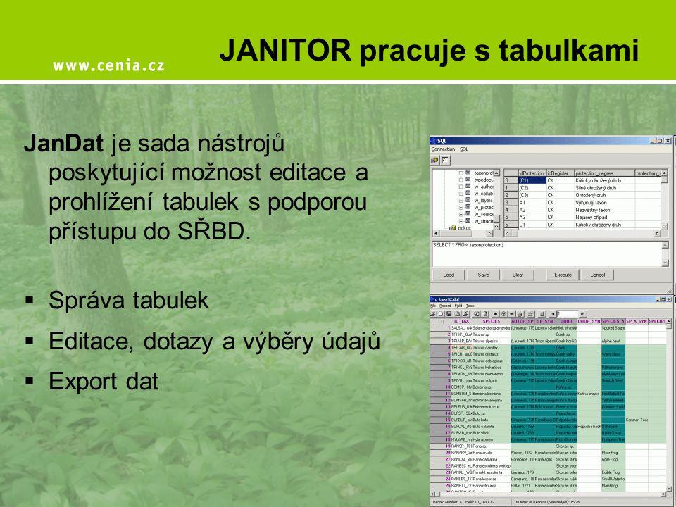 JANITOR pracuje s tabulkami JanDat je sada nástrojů poskytující možnost editace a prohlížení tabulek s podporou přístupu do SŘBD.  Správa tabulek  E