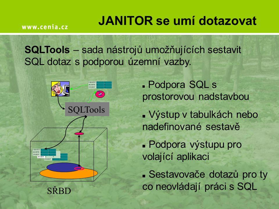 JANITOR se umí dotazovat SQLTools – sada nástrojů umožňujících sestavit SQL dotaz s podporou územní vazby. SŘBD SQLTools  Podpora SQL s prostorovou n
