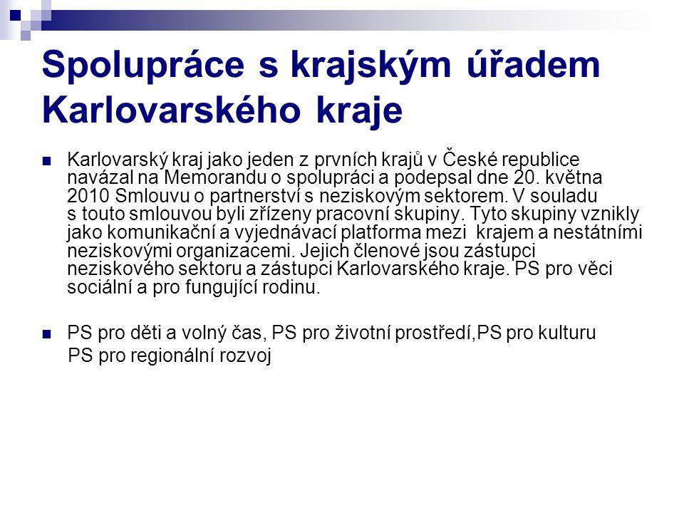 Spolupráce s krajským úřadem Karlovarského kraje  Karlovarský kraj jako jeden z prvních krajů v České republice navázal na Memorandu o spolupráci a p