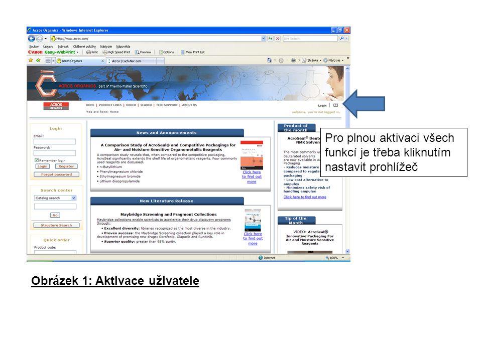 Pro plnou aktivaci všech funkcí je třeba kliknutím nastavit prohlížeč Obrázek 1: Aktivace uživatele