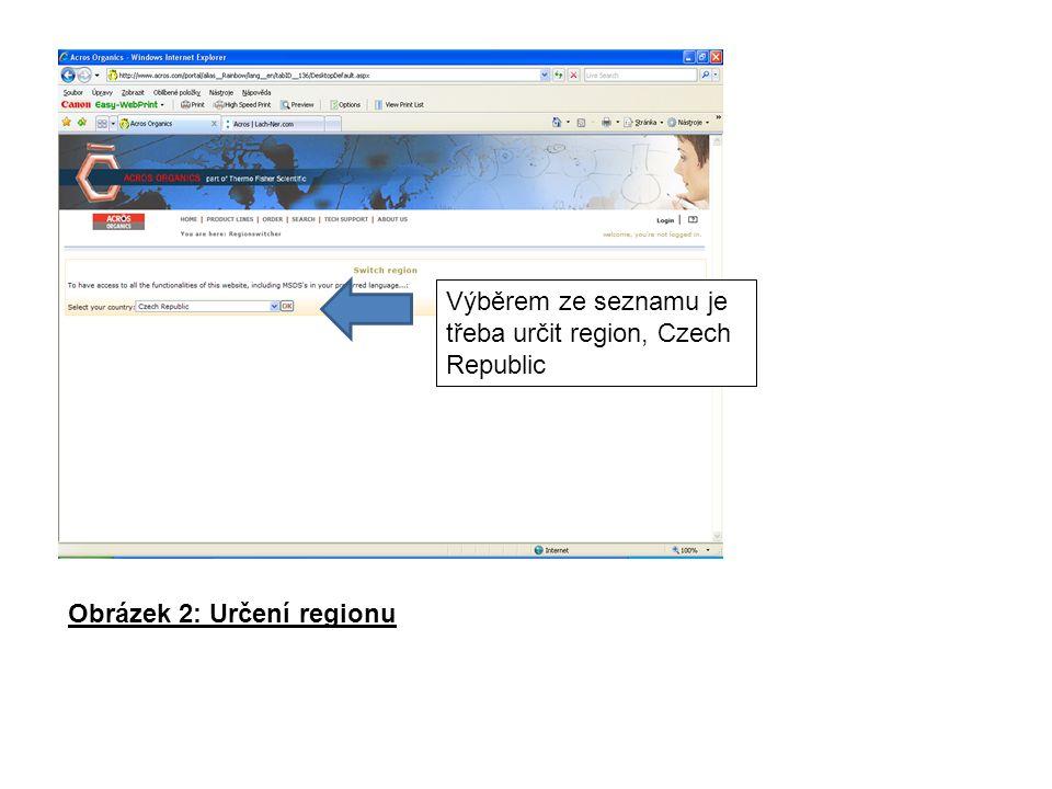 Obrázek 2: Určení regionu Výběrem ze seznamu je třeba určit region, Czech Republic