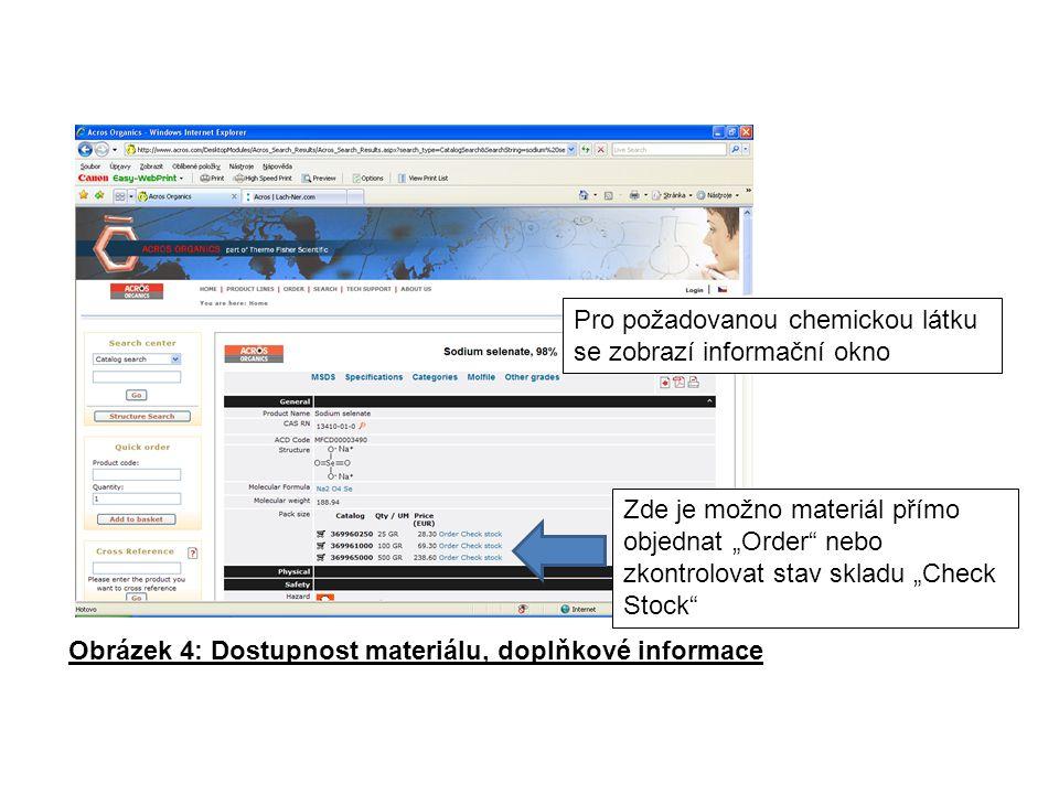 """Pro požadovanou chemickou látku se zobrazí informační okno Obrázek 4: Dostupnost materiálu, doplňkové informace Zde je možno materiál přímo objednat """"Order nebo zkontrolovat stav skladu """"Check Stock"""