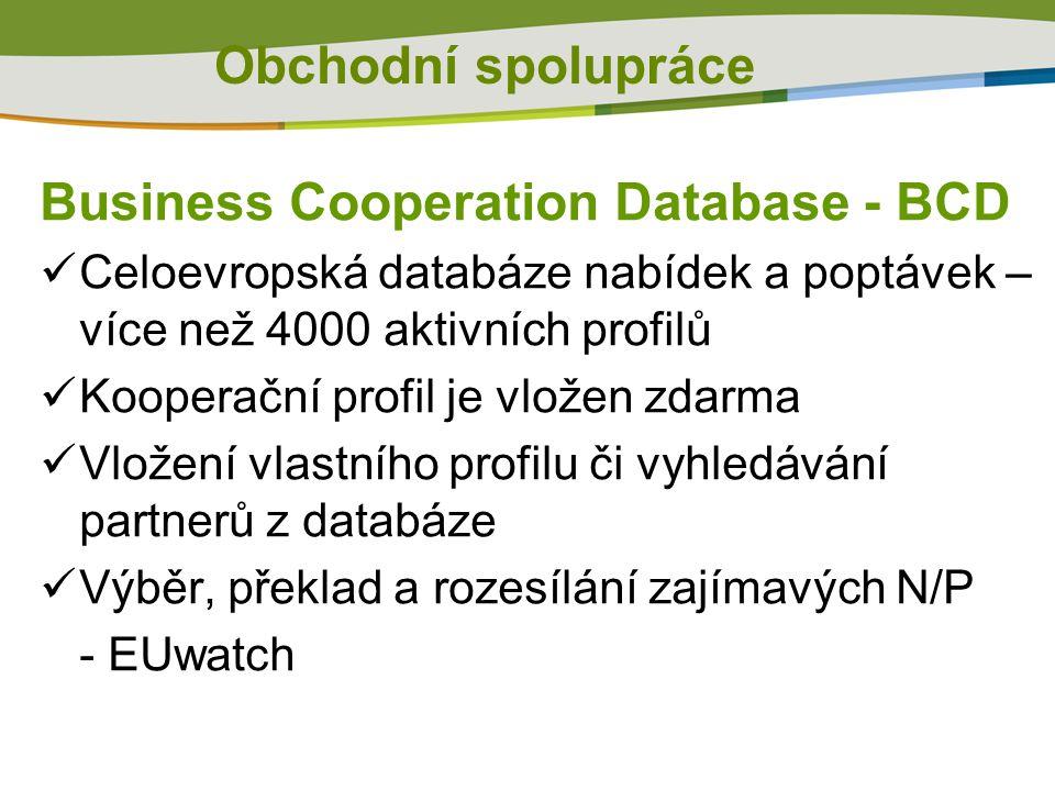 Obchodní spolupráce Business Cooperation Database - BCD  Celoevropská databáze nabídek a poptávek – více než 4000 aktivních profilů  Kooperační profil je vložen zdarma  Vložení vlastního profilu či vyhledávání partnerů z databáze  Výběr, překlad a rozesílání zajímavých N/P - EUwatch