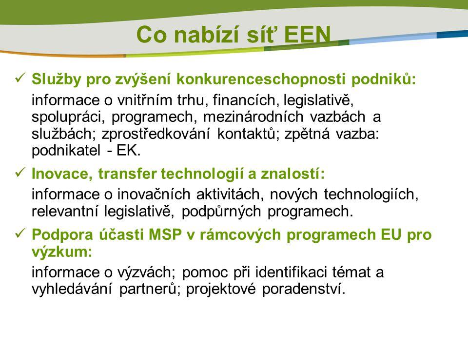 Co nabízí síť EEN  Služby pro zvýšení konkurenceschopnosti podniků: informace o vnitřním trhu, financích, legislativě, spolupráci, programech, mezinárodních vazbách a službách; zprostředkování kontaktů; zpětná vazba: podnikatel - EK.