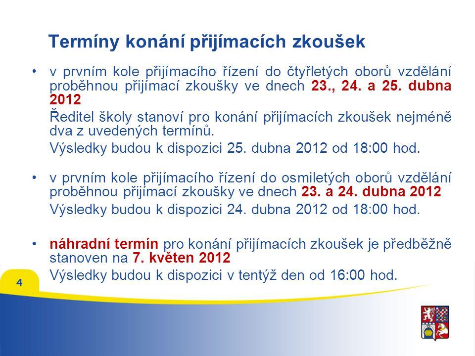 """Přijímací zkoušky nanečisto •přijímací zkoušky nanečisto pro uchazeče proběhnou na středních školách v březnu 2012, přesný termín stanoví ředitel školy •testy v rámci přijímacích zkoušek nanečisto budou mít stejnou časovou dotaci a stejný počet otázek jako """"ostré přijímací zkoušky •CENA: trojice testů OSP, M a ČJ – 100 Kč nebo 130 Kč test OSP – 60 Kč nebo 50 Kč 5"""