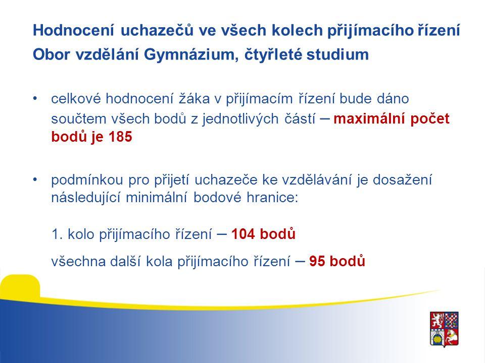 Hodnocení uchazečů ve všech kolech přijímacího řízení Obor vzdělání Gymnázium, osmileté studium •1.