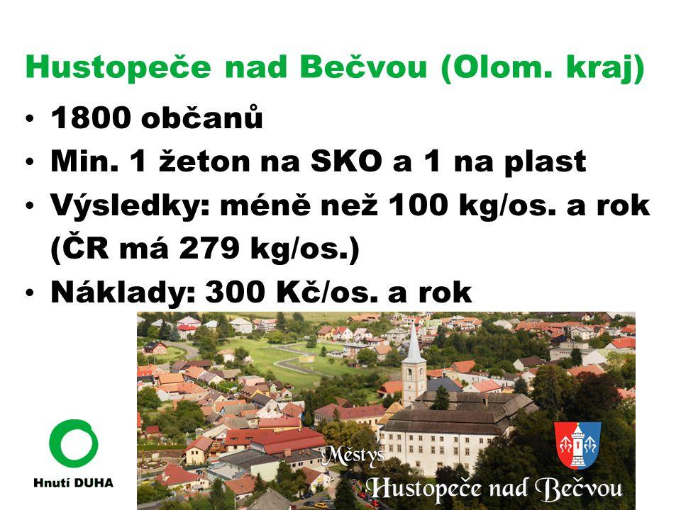 Hustopeče nad Bečvou (Olom. kraj) • 1800 občanů • Min. 1 žeton na SKO a 1 na plast • Výsledky: méně než 100 kg/os. a rok (ČR má 279 kg/os.) • Náklady: