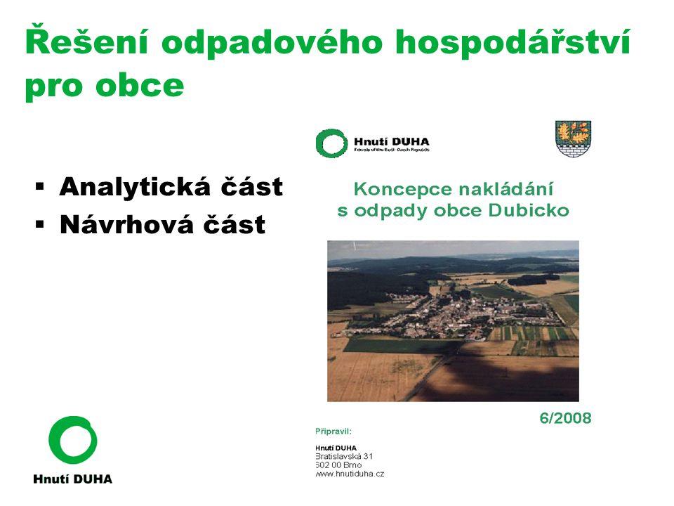 Řešení odpadového hospodářství pro obce  Analytická část  Návrhová část