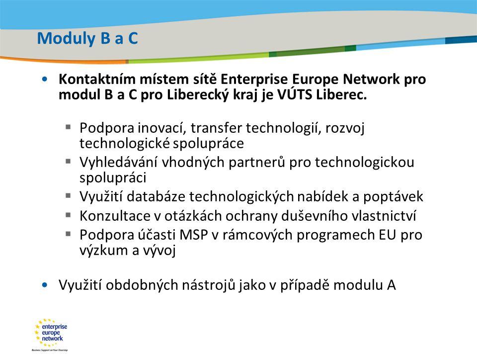 Title of the presentation | Date |‹#› Moduly B a C •Kontaktním místem sítě Enterprise Europe Network pro modul B a C pro Liberecký kraj je VÚTS Liberec.