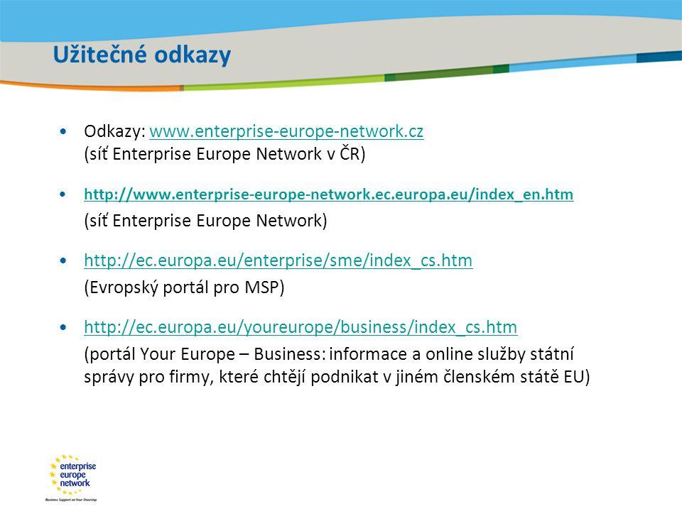 Title of the presentation | Date |‹#› Užitečné odkazy •Odkazy: www.enterprise-europe-network.cz (síť Enterprise Europe Network v ČR)www.enterprise-europe-network.cz •http://www.enterprise-europe-network.ec.europa.eu/index_en.htmhttp://www.enterprise-europe-network.ec.europa.eu/index_en.htm (síť Enterprise Europe Network) •http://ec.europa.eu/enterprise/sme/index_cs.htmhttp://ec.europa.eu/enterprise/sme/index_cs.htm (Evropský portál pro MSP) •http://ec.europa.eu/youreurope/business/index_cs.htmhttp://ec.europa.eu/youreurope/business/index_cs.htm (portál Your Europe – Business: informace a online služby státní správy pro firmy, které chtějí podnikat v jiném členském státě EU)