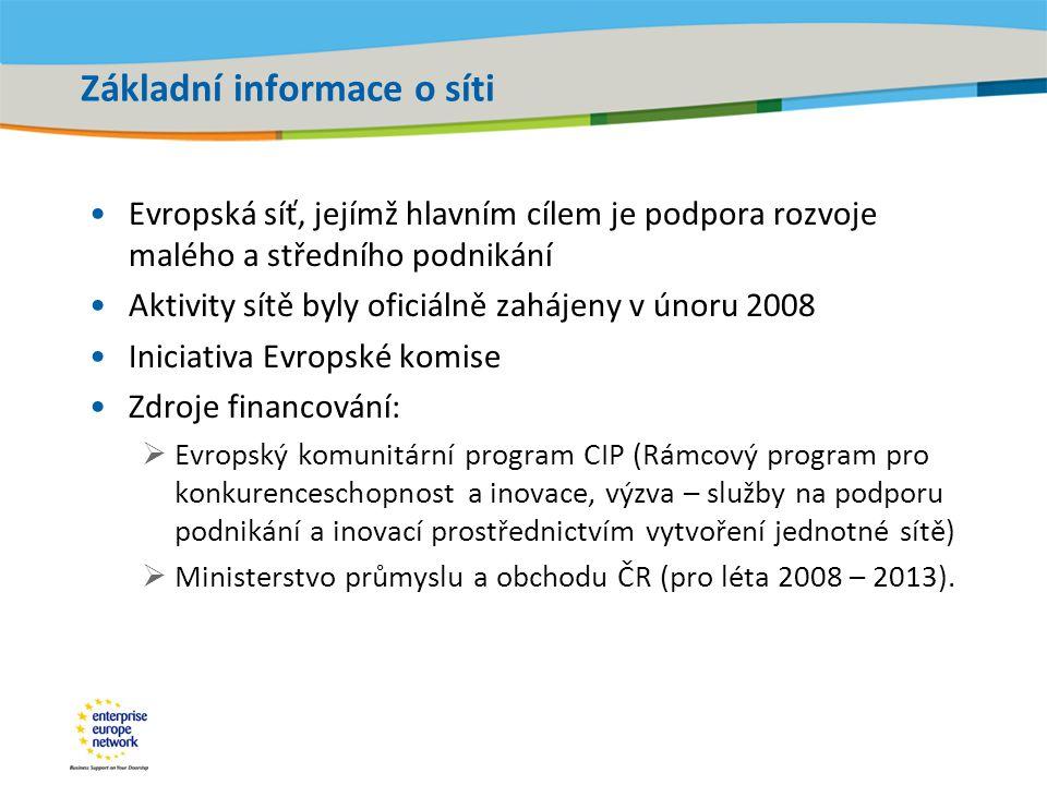 Title of the presentation | Date |‹#› Základní informace o síti •Evropská síť, jejímž hlavním cílem je podpora rozvoje malého a středního podnikání •Aktivity sítě byly oficiálně zahájeny v únoru 2008 •Iniciativa Evropské komise •Zdroje financování:  Evropský komunitární program CIP (Rámcový program pro konkurenceschopnost a inovace, výzva – služby na podporu podnikání a inovací prostřednictvím vytvoření jednotné sítě)  Ministerstvo průmyslu a obchodu ČR (pro léta 2008 – 2013).