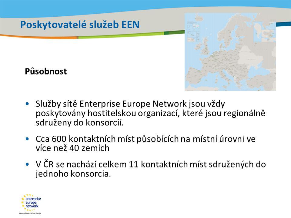 Title of the presentation | Date |‹#› Poskytovatelé služeb EEN Působnost •Služby sítě Enterprise Europe Network jsou vždy poskytovány hostitelskou organizací, které jsou regionálně sdruženy do konsorcií.