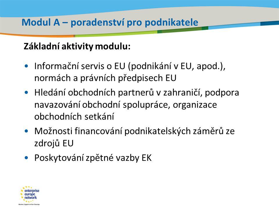 Title of the presentation | Date |‹#› Modul A – poradenství pro podnikatele Základní aktivity modulu: •Informační servis o EU (podnikání v EU, apod.), normách a právních předpisech EU •Hledání obchodních partnerů v zahraničí, podpora navazování obchodní spolupráce, organizace obchodních setkání •Možnosti financování podnikatelských záměrů ze zdrojů EU •Poskytování zpětné vazby EK