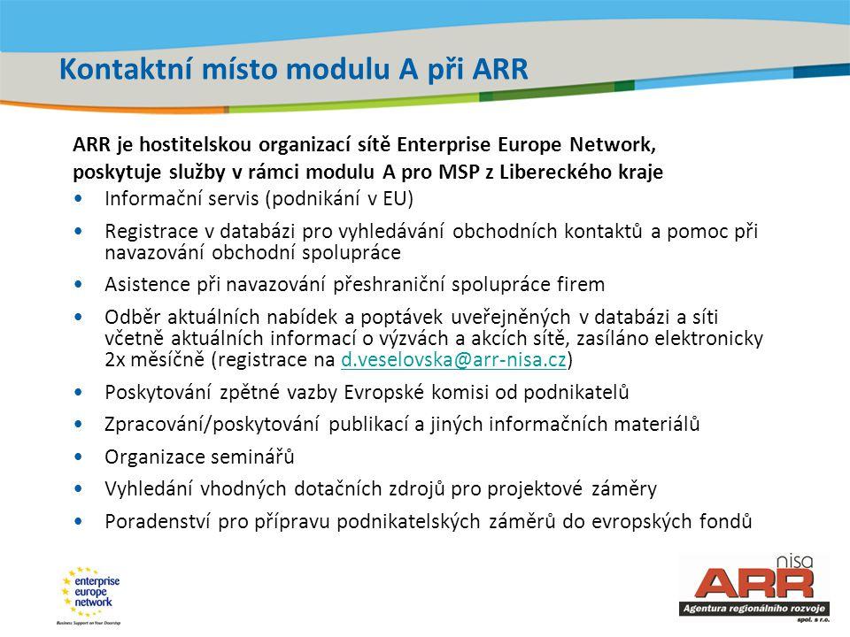 Title of the presentation | Date |‹#› Kontaktní místo modulu A při ARR ARR je hostitelskou organizací sítě Enterprise Europe Network, poskytuje služby v rámci modulu A pro MSP z Libereckého kraje •Informační servis (podnikání v EU) •Registrace v databázi pro vyhledávání obchodních kontaktů a pomoc při navazování obchodní spolupráce •Asistence při navazování přeshraniční spolupráce firem •Odběr aktuálních nabídek a poptávek uveřejněných v databázi a síti včetně aktuálních informací o výzvách a akcích sítě, zasíláno elektronicky 2x měsíčně (registrace na d.veselovska@arr-nisa.cz)d.veselovska@arr-nisa.cz •Poskytování zpětné vazby Evropské komisi od podnikatelů •Zpracování/poskytování publikací a jiných informačních materiálů •Organizace seminářů •Vyhledání vhodných dotačních zdrojů pro projektové záměry •Poradenství pro přípravu podnikatelských záměrů do evropských fondů