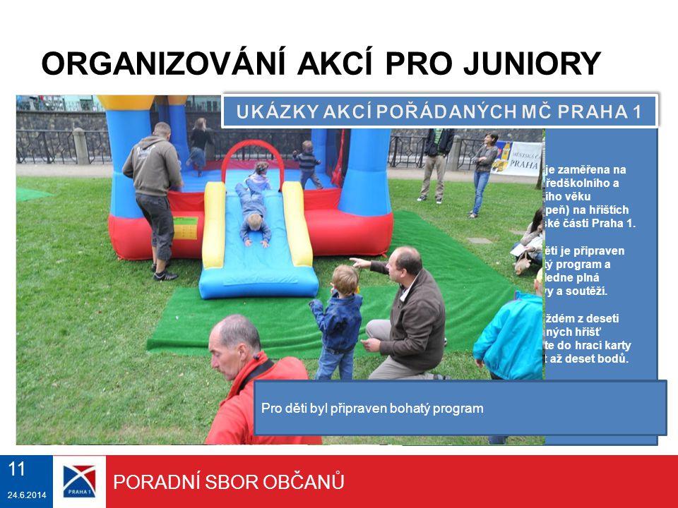 25.6.2014 ORGANIZOVÁNÍ AKCÍ PRO JUNIORY Akce je zaměřena na děti předškolního a školního věku (1.stupeň) na hřištích Městské části Praha 1. Pro děti j