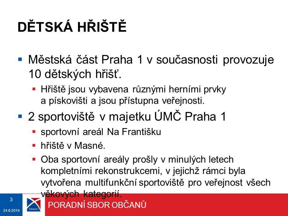 DĚTSKÁ HŘIŠTĚ  Městská část Praha 1 v současnosti provozuje 10 dětských hřišť.  Hřiště jsou vybavena různými herními prvky a pískovišti a jsou příst