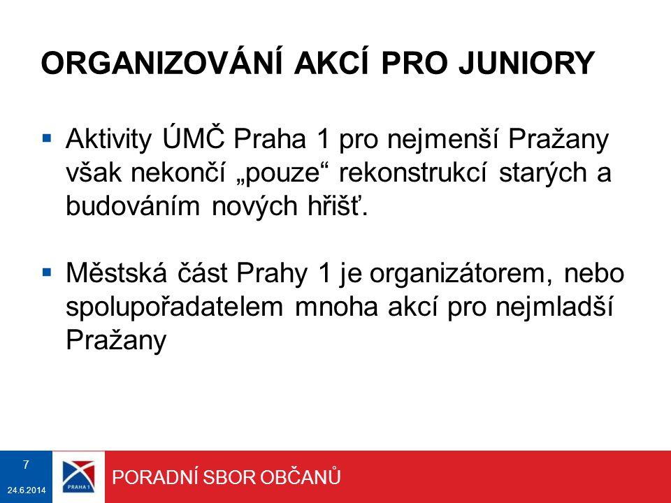 """ORGANIZOVÁNÍ AKCÍ PRO JUNIORY  Aktivity ÚMČ Praha 1 pro nejmenší Pražany však nekončí """"pouze"""" rekonstrukcí starých a budováním nových hřišť.  Městsk"""