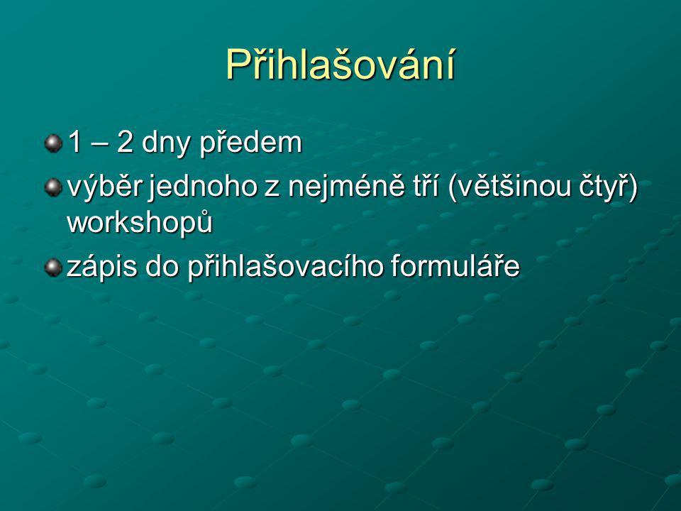 Přihlašování 1 – 2 dny předem výběr jednoho z nejméně tří (většinou čtyř) workshopů zápis do přihlašovacího formuláře