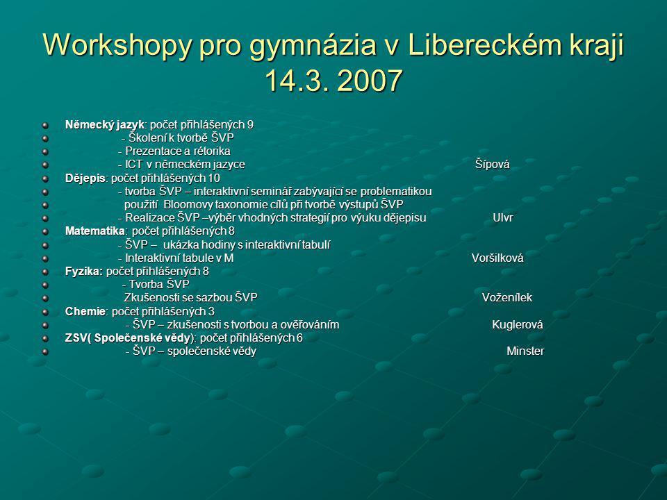 Workshopy pro gymnázia v Libereckém kraji 14.3. 2007 Německý jazyk: počet přihlášených 9 - Školení k tvorbě ŠVP - Školení k tvorbě ŠVP - Prezentace a
