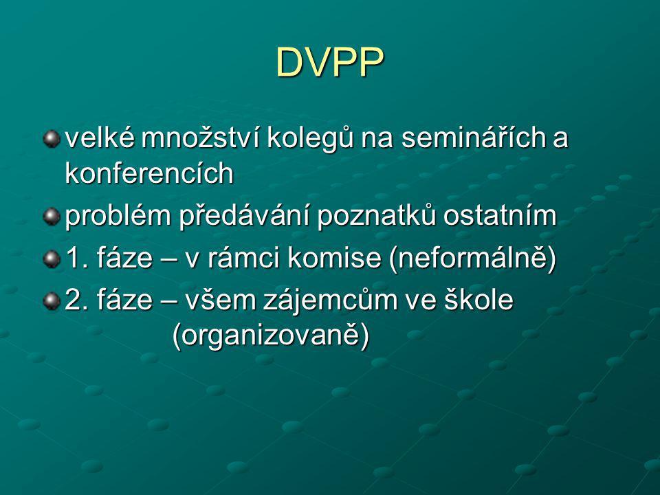DVPP velké množství kolegů na seminářích a konferencích problém předávání poznatků ostatním 1. fáze – v rámci komise (neformálně) 2. fáze – všem zájem