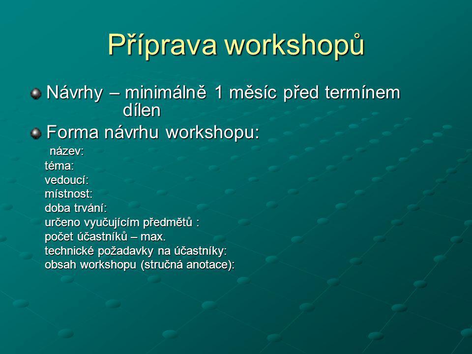 Příprava workshopů Návrhy – minimálně 1 měsíc před termínem dílen Forma návrhu workshopu: název: název: téma: téma: vedoucí: vedoucí: místnost: místno