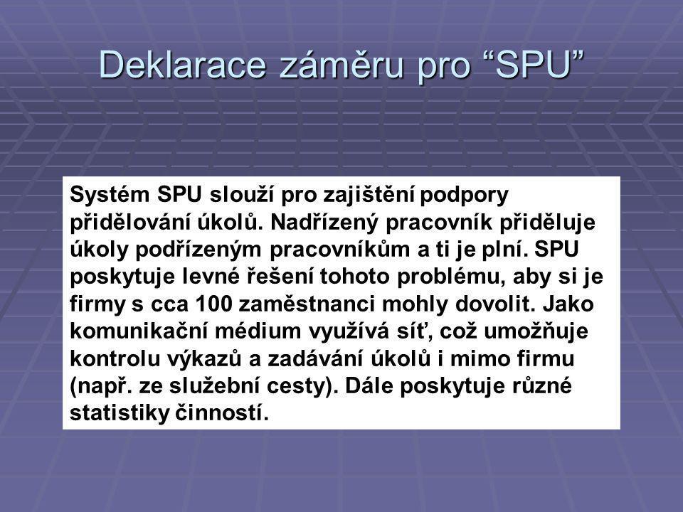 Systém SPU slouží pro zajištění podpory přidělování úkolů.