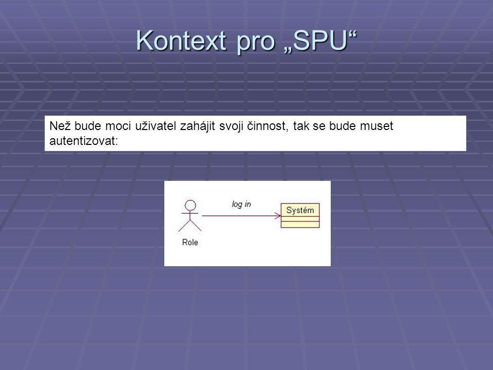 """Než bude moci uživatel zahájit svoji činnost, tak se bude muset autentizovat: Kontext pro """"SPU"""