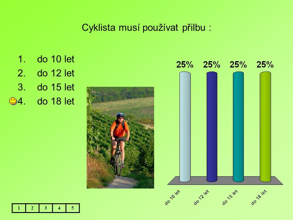 Cyklista musí používat přilbu : 12345 1.do 10 let 2.do 12 let 3.do 15 let 4.do 18 let