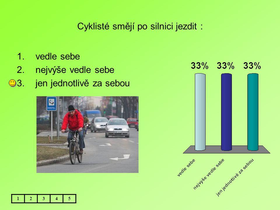 Cyklisté smějí po silnici jezdit : 12345 1.vedle sebe 2.nejvýše vedle sebe 3.jen jednotlivě za sebou