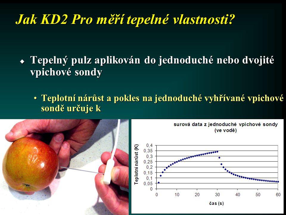 Jak KD2 Pro měří tepelné vlastnosti? •Teplotní nárůst na druhé vpichové sondě určuje C v a D