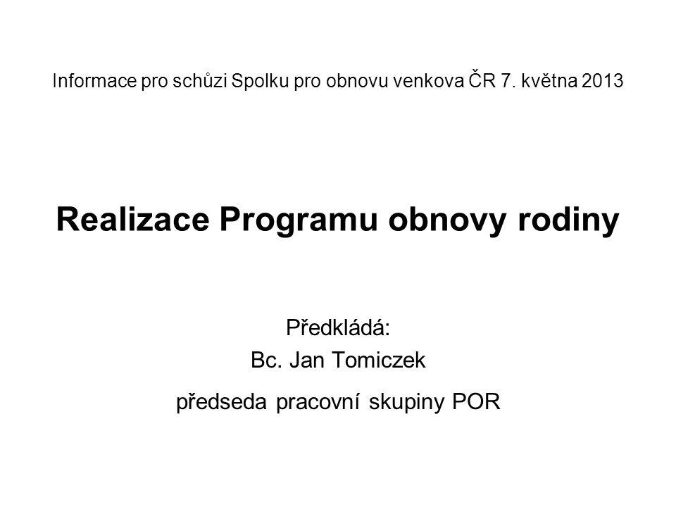 Informace pro schůzi Spolku pro obnovu venkova ČR 7. května 2013 Realizace Programu obnovy rodiny Předkládá: Bc. Jan Tomiczek předseda pracovní skupin
