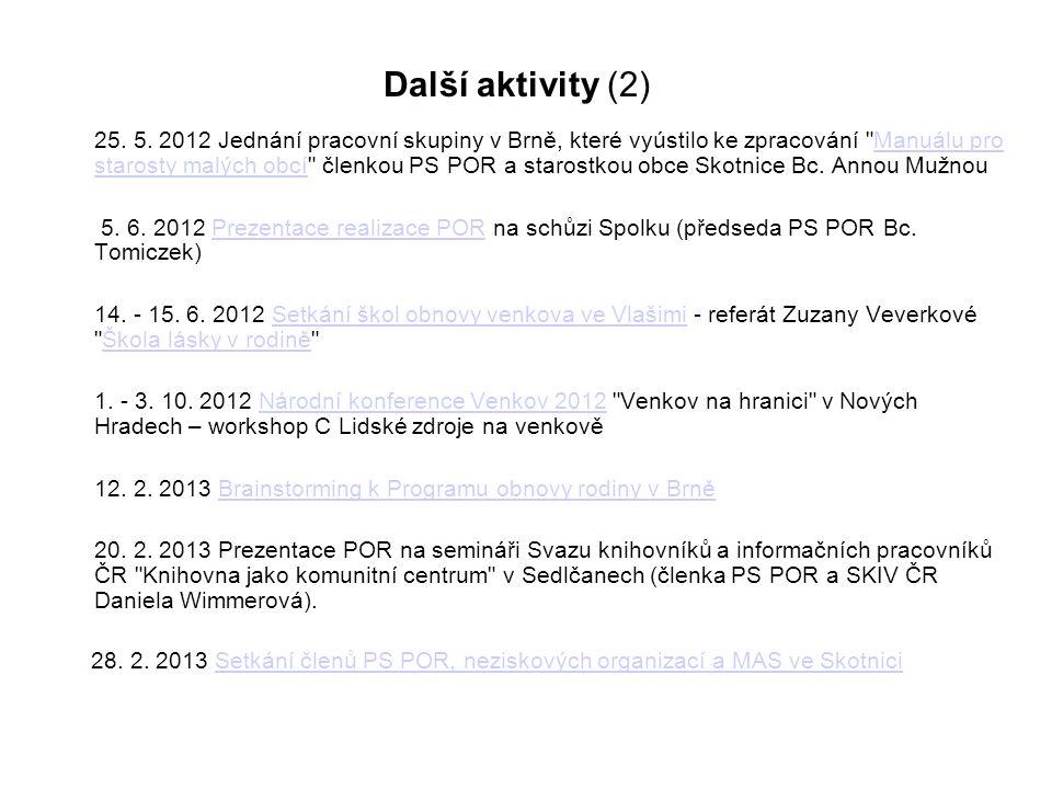 Další aktivity (2) 25. 5. 2012 Jednání pracovní skupiny v Brně, které vyústilo ke zpracování