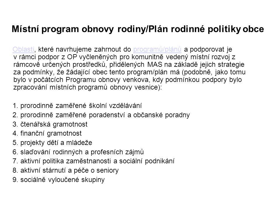 Místní program obnovy rodiny/Plán rodinné politiky obce Oblasti, které navrhujeme zahrnout do programů/plánů a podporovat je v rámci podpor z OP vyčle