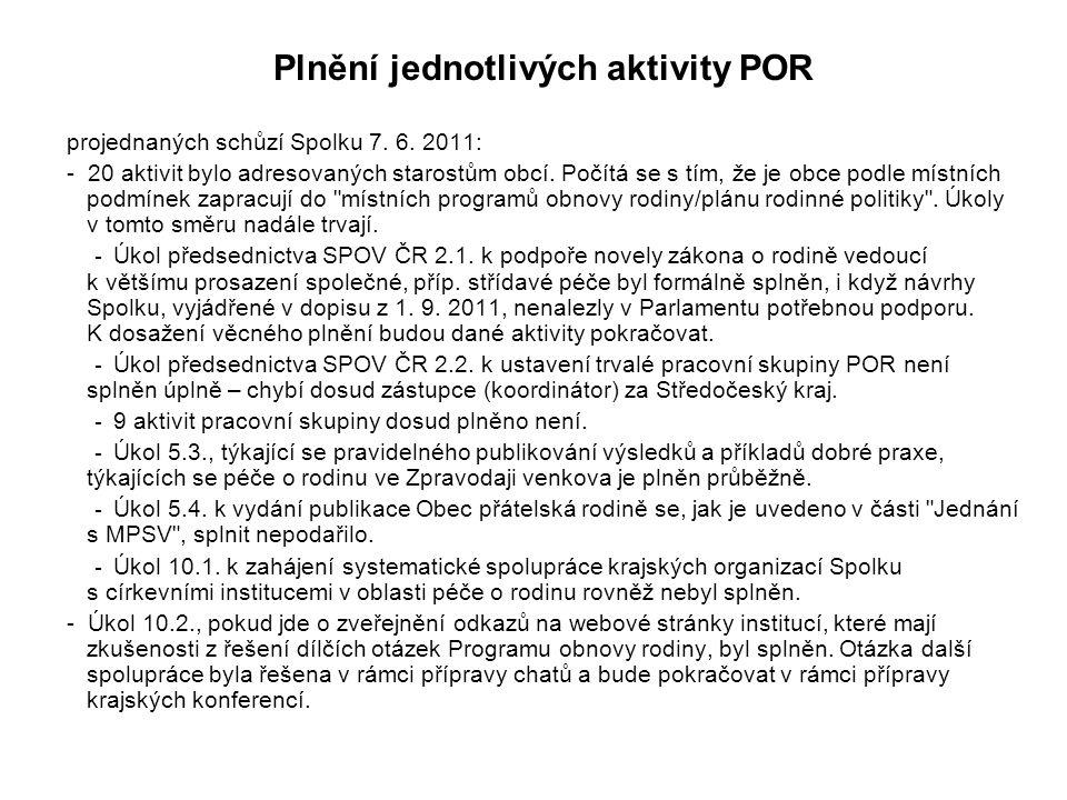 Plnění jednotlivých aktivity POR projednaných schůzí Spolku 7. 6. 2011: - 20 aktivit bylo adresovaných starostům obcí. Počítá se s tím, že je obce pod