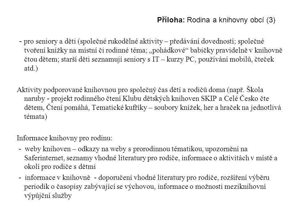 Příloha: Rodina a knihovny obcí (3) - pro seniory a děti (společné rukodělné aktivity – předávání dovedností; společné tvoření knížky na místní či rod