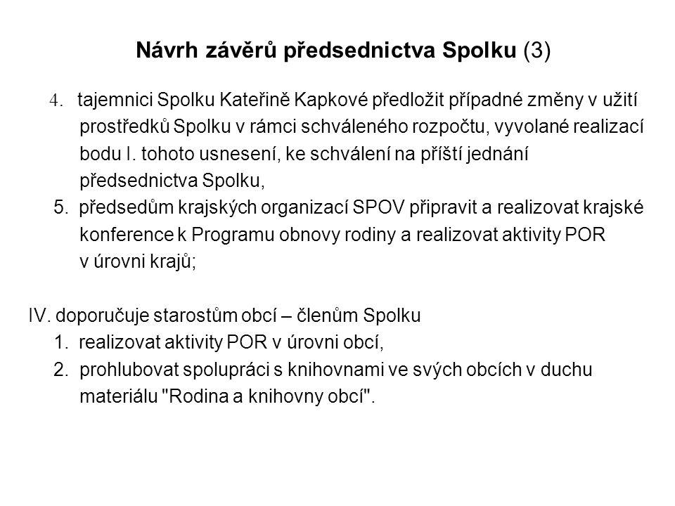 Návrh závěrů předsednictva Spolku (3) 4. tajemnici Spolku Kateřině Kapkové předložit případné změny v užití prostředků Spolku v rámci schváleného rozp