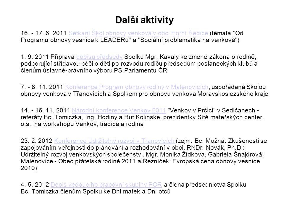 Další aktivity 16. - 17. 6. 2011 Setkání Škol obnovy venkova v obci Horní Ředice (témata