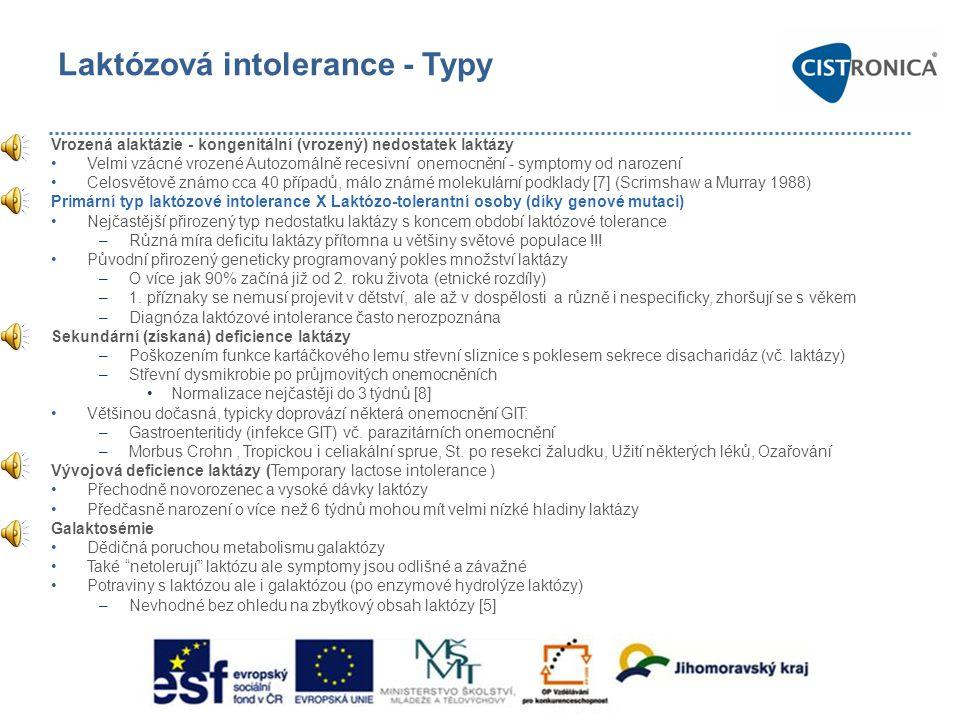 Laktózová intolerance - Typy Vrozená alaktázie - kongenitální (vrozený) nedostatek laktázy •Velmi vzácné vrozené Autozomálně recesivní onemocnění - sy