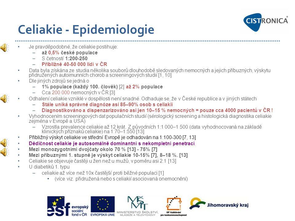Celiakie - Epidemiologie •Je pravděpodobné, že celiakie postihuje: –až 0,5% české populace –S četností 1:200-250 –Přibližně 40-50 000 lidí v ČR •Data
