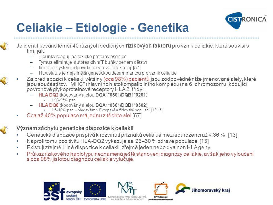 Celiakie – Etiologie - Genetika Je identifikováno téměř 40 různých dědičných rizikových faktorů pro vznik celiakie, které souvisí s tím, jak: –T buňky