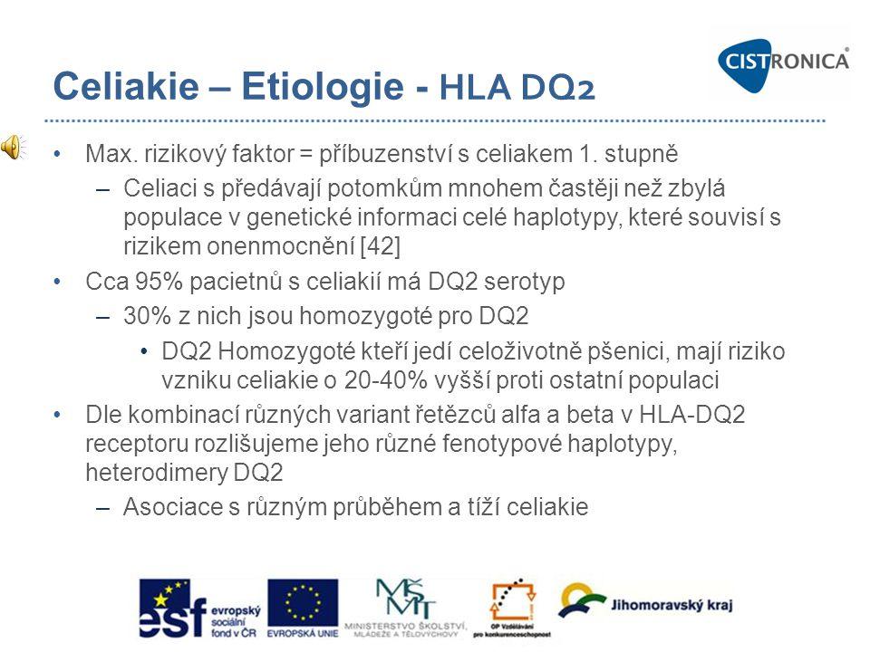 Celiakie – Etiologie - HLA DQ2 •Max. rizikový faktor = příbuzenství s celiakem 1. stupně –Celiaci s předávají potomkům mnohem častěji než zbylá popula