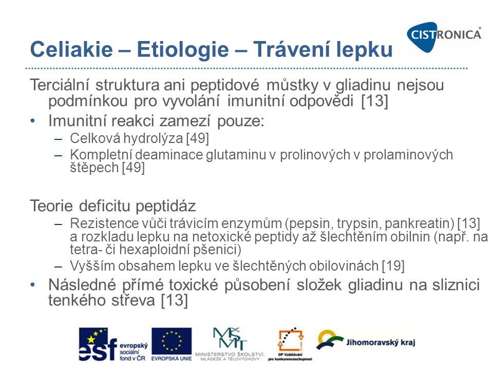 Celiakie – Etiologie – Trávení lepku Terciální struktura ani peptidové můstky v gliadinu nejsou podmínkou pro vyvolání imunitní odpovědi [13] •Imunitn